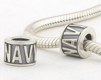 Navy charm US Navy bead fits Pandora bracelet USN bead charm bead Sterling Silver