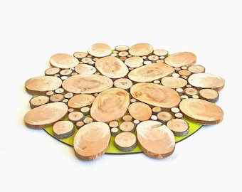 Flower Patterned Wood Tree Slice Centerpiece Shabby Chic Decorative Wall Art Wooden Rounds Wooden Slice