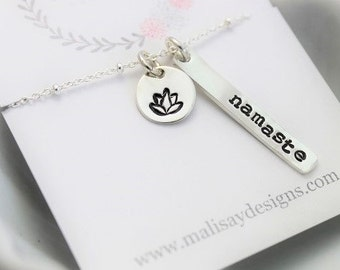 Namaste lotus necklace, yoga jewelry, ohm necklace, inspirational gift, yoga necklace, yoga inspired gift for her, lotus flower charm