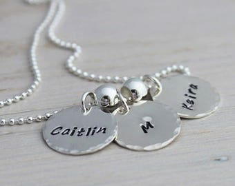 necklace with 3 names for mom, name tag  mothers necklace, 3 kids names necklace, stamped name discs, silver name disc