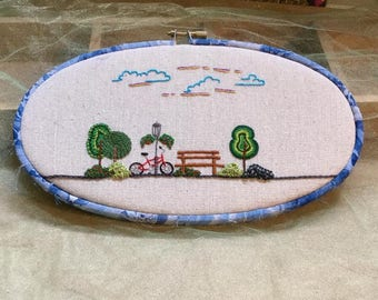 A Day at the Park Hand Embroidered Hoop Art