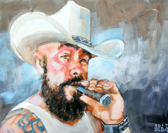 Western Style Cigar Smoke, 11x14 inches acrylic and watercolor on cotton paper, by Kenney Mencher