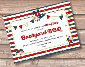 Fourth of July Patriotic Bunting Banner Printable Invitation Independence Day Birthday Party Backyard BBQ Baby Shower Watercolor Barbecue