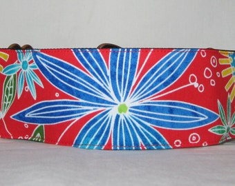 SALE Bursting Flower Martingale Dog Collar - 1.5 or 2 Inch - colorful bright blue red orange floral flowers tropical