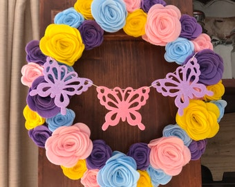 Nursery Wreath, Butterfly Wreath, Nursery Decorations, Nursery Decor, Girl's Room Wreath, Spring Wreath, Girl's Room Decor