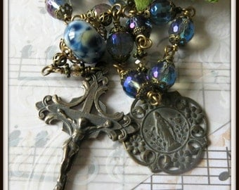 Lady of Grace Single Decade Pocket Rosary in Blue Mystic Quartz & Lampwork, Wire Wrapped Unbreakable Rosary, Bronze Rosary Tenner