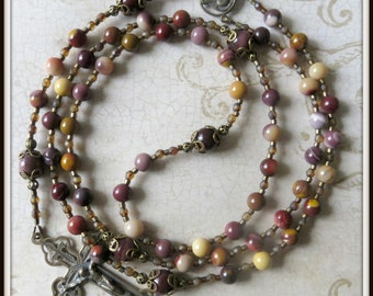 Sacred Heart of Jesus Rosary, Bronze Handmade Rosary in Mookaite Jasper, Flexwire Beaded Rosary Catholic Five Decade Rosary