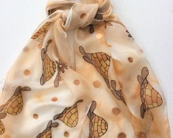 Tortoise hand painted silk scarf.  pure silk scarves.  Brown Tortoises. Unique scarf.   Silk Scarves