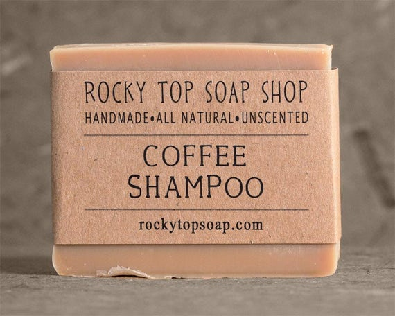 Solid Shampoo Bar with Coffee- All Natural Soap, Unscented Soap, Handmade Soap, Cold Process Soap, Vegan Soap