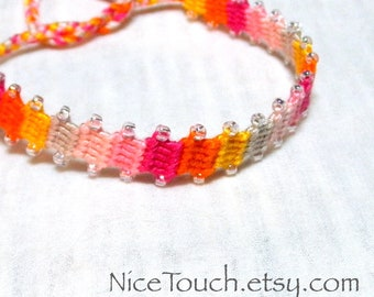 SUMMER SALE!!! Free Shipping or Save 20% ~ Summer Sunburst knotted friendship bracelet ~ Ready to Ship