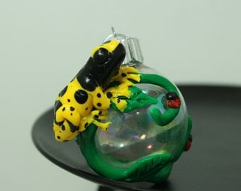 Leucomelas Poison Dart Frog Mini Christmas ornament