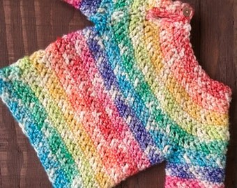 Rainbow Baby, Crochet Baby Sweater,  6-12 Month Sweater, Baby Pullover, Infant Sweater, Girl,  Rainbow Sweater, Knit Baby Sweater,