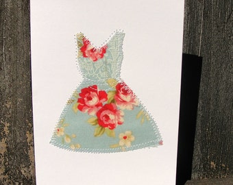 Little Girl Dress Sewn Notecard Set of Two, Baby Shower Thank You Note Card, Fabric Scrap Greeting Cards