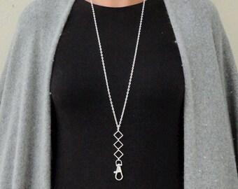 Lanyard Silver Geometric Lanyard Silver, Name Badge Holder Necklace, Silver ID Badge Holder, Boho Lanyard Simple Square Lanayrd Diamond