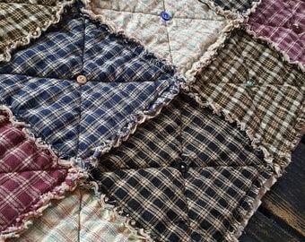 Plaid Homespun Sampler Table Runner, Primitive Rag Quilt, Rustic Country Runner, Button Adorned, Multiple Sizes Available, Handmade in NJ