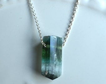 Watermelon Tourmaline Necklace, Green Tourmaline, Bi-color Tourmaline Necklace with Sterling Silver