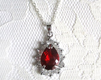 Minimalist Rhinestone Necklace pendant Crystal Red Sterling Silver 925 Ruby Teardrop Drop Dainty Simple Necklace Modern gift for her