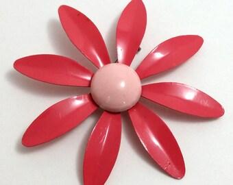 Pink Enamel Flower Pin Brooch Vintage