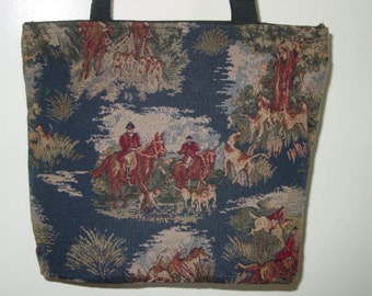 Horse Hunt Scene, Fox Hunt Scene Tote Purse, Tapestry All in One Tote Bag and Purse