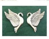 Early Laurel Burch Sterling Silver Lg Heron Swan Earrings
