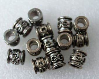 Large Hole Silver Pewter Tube/Cylinder Beads with Linked Circle Design, European Style