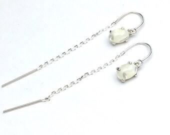 U Threader Mother of Pearl White Earrings