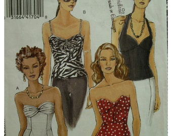Strapless Fitted Top Pattern, Halter Version, Straps, Hip Length, Lined, Back Zipper, Gathered Bust, Vogue No. 8393 Size 12 14