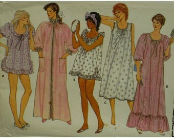 Baby Doll Pajama Top, Short Nightie, Robe, Nightgown, Ruffle Trim, Sleeveless/Short Sleeves, Scoop Neck, Butterick 6558 UNCUT Size 14 16 18