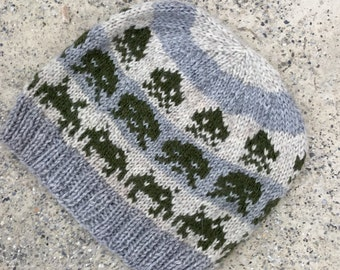 Wool Hat: Space Invaders Olive on Grey and Beige