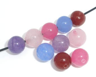 10 Agate Assorted Color Beads 8mm