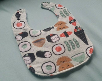 sushi bib,Ready To Ship, infant bib, flannel baby bib, baby gift, terrycloth baby bib, reversible, adjustable snaps