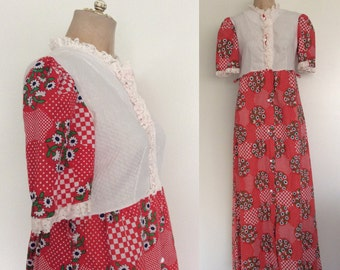 1970's Red Floral Print Maxi Dress Size Small Medium by Maeberry Vintage