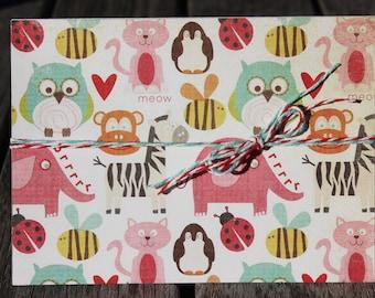 Zoo Animals Birthday Card, Child Birthday Card, Animal Birthday Card, Litte Boy Birthday Card, Little Girl Birthday Card
