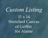 Custom Dog Portrait of Griffin. 11 x 14 inches. Stretched canvas. Holiday gift. For Alaine