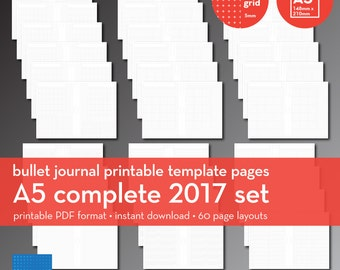 A5 | Complete 2017 Set | Bullet Journal Printable Templates | Plus grid | 5mm