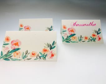 Place Cards, - Floral Set of 10, Size 2.0 x 3.5 inches, Printed Cards