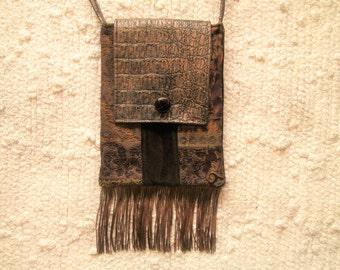 Tapestry Velvet Faux Leather Fringe Boho Vintage Inspired Crossbody Bag