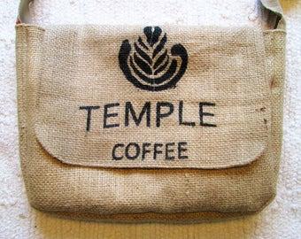 Upcycled Coffee Sack Eco Friendly Messenger Shoulder Bag