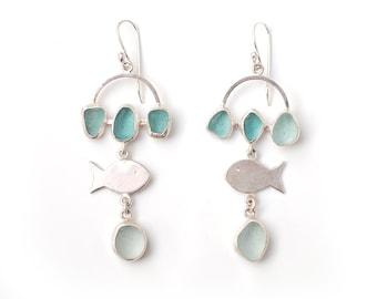 Seafoam Sea Glass Fish Earrings Sterling Silver Bezel Set