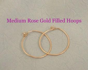 Rose Gold Filled Hammered Earring Hoops