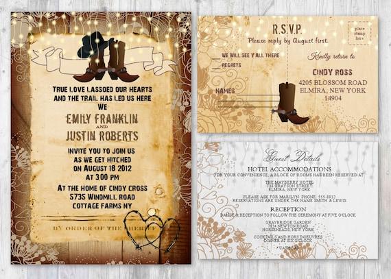 Western Wedding Invites: Cowboy Wedding Invitations Rustic Boot Wedding Invitations
