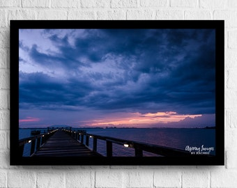 Water Print, Navy Blue and Pink Sunset, Water Photo, River Sunset Wall Art, Blue and pink, Water print, Pier at Sunset, River Print
