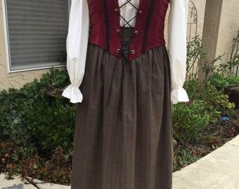 Renaissance Dress - Skirt, Blouse, Corset, size XL