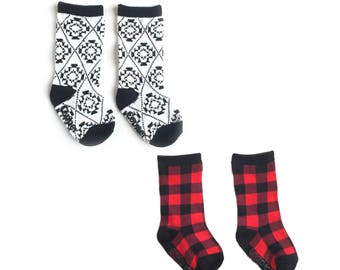 Baby and toddler knee high socks package of 2 Baby socks Boot Socks in Buffalo Plaid baby shower gift baby gift nordic print patterned socks