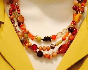 Chunky earth tone multistrand orange necklace, earrings set, yellow citrine, tiger eye, agate, olive jade, jasper, multi strand, beaded