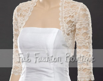 Ivory 3/4 sleeved lace bolero jacket shrug Size S-XL, 2XL-5XL