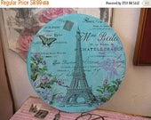 Romantic Aged Nordic French Inspired Cottage Chic Wall Hanging Paris Eiffel Tower
