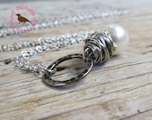 Long Boho White Pearl Pendant Necklace, Wire Wrap, Pearl of Great Price, Large Pearl Antique Silver Chain Necklace, MagpieMadness for Etsy