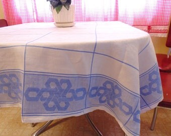 "BLUE & WHITE. TABLECLOTH. cotton tablecloth. jacquard tablecloth. linen tablecloth. 49"" x 49"" vintage tablecloth. 1950s tablecloth."