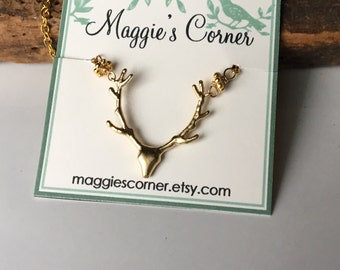 Deer Necklace, Winter Necklace, Animal Necklace, Dainty Necklace, Gold Plated, Up North, Deer Head, Deer Antlers, Etsy